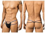 Black with Blue Trim Thong