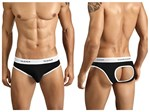 Mens Black Jockstrap with Piping