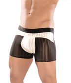 Mens Black & White Spandex Rib Bike Short