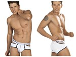 Mens White & Black Open Sides Brief
