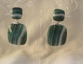 Green natural stone earrings