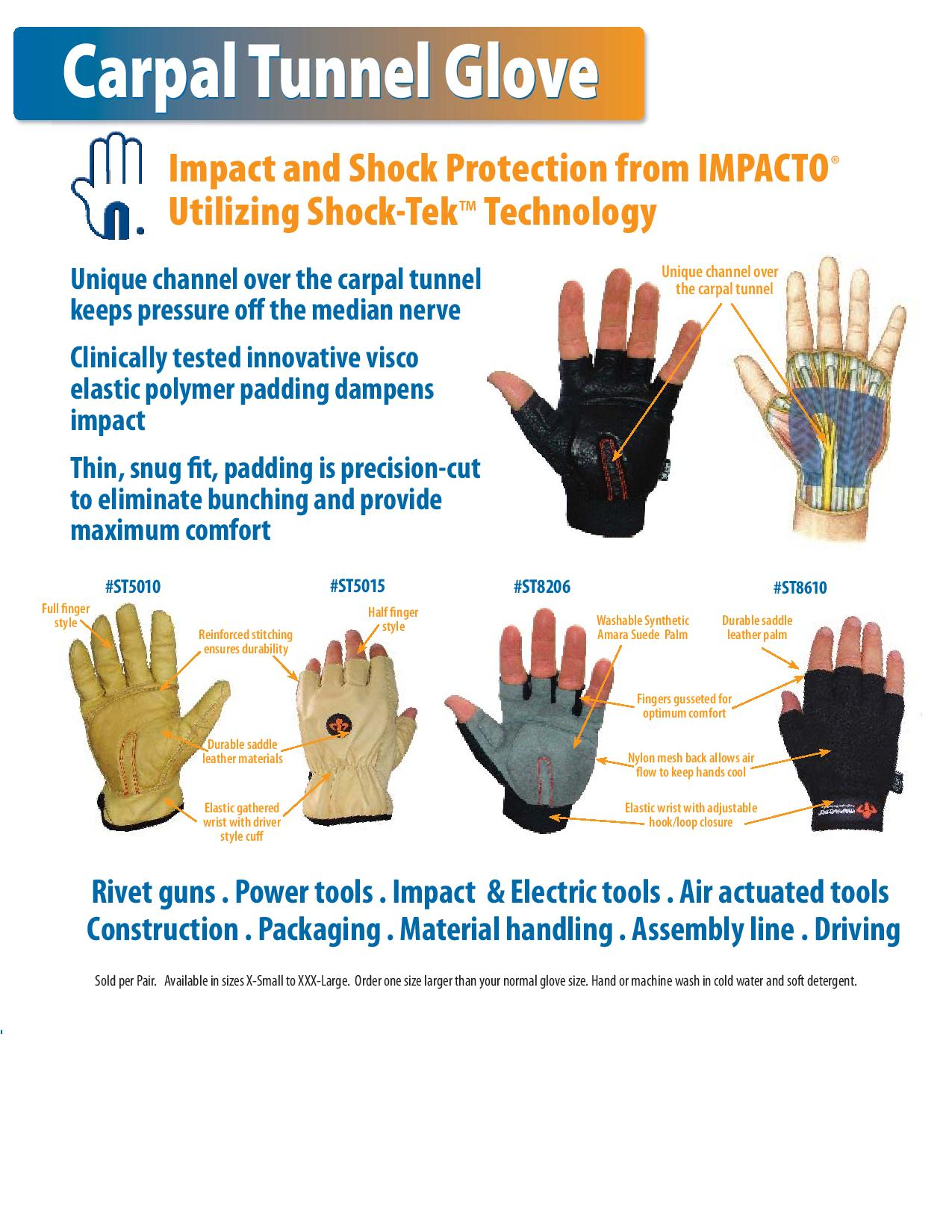 Impacto Half Finger Carpal Tunnel Gloves Conforms To