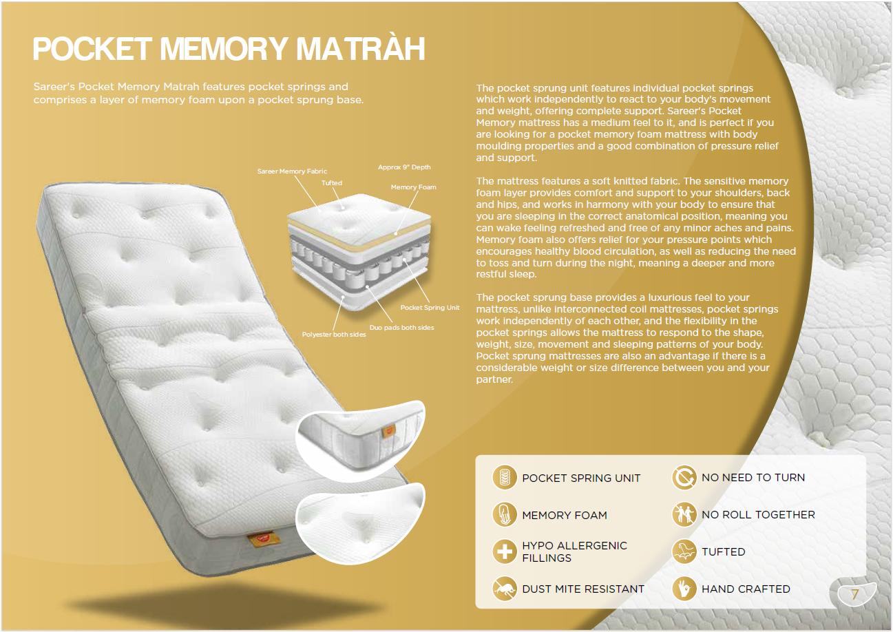 sareer pocket memory mattress 9 inch depth comfort level 4
