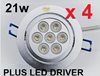 4 x 21W DIMMABLE LED COMPLETE DOWNLIGHT SPOT 240V KIT