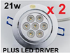 2x 21W DIMMABLE LED COMPLETE DOWNLIGHT SPOT 240V KIT