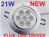 21W 7X3W LED DOWNLIGHT + LED DRIVER 1100 LUMENS