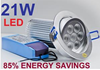 21W LED COMPLETE DOWNLIGHT SPOT 240V KIT 1100Lum (Cream white)