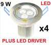 4 x 9W NEW DIMMABLE LED DOWNLIGHT SPOT 240V BULB W/W