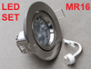 MR16 SET SILVER FITTING LAMP HOLDER DOWNLIGHT W/W DIMM