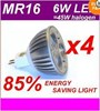 4 x MR16 6W LED DOWNLIGHTS GLOBE 12V W/W