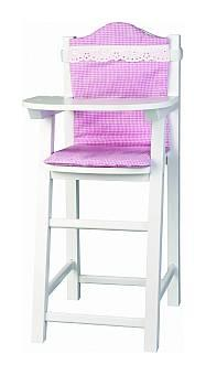Micki Wooden Toys  - White High Chair with Cushion