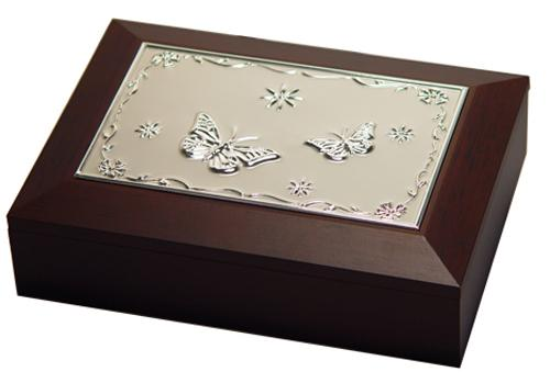 Jewellery Box - Wooden with Metal Embossed Butterfly Design