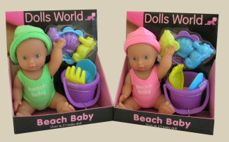 Beach Baby Doll Set Pink or Green