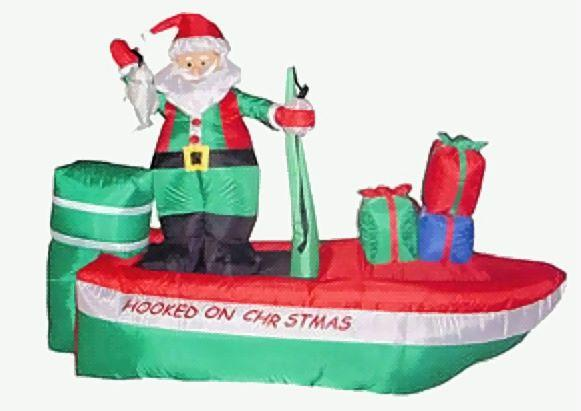 Christmas Hooked on Fishing Inflatable Santa Boat with Gifts 2.4m