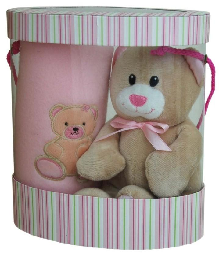 Pink Baby Blanket & Teddy Gift Boxed Set
