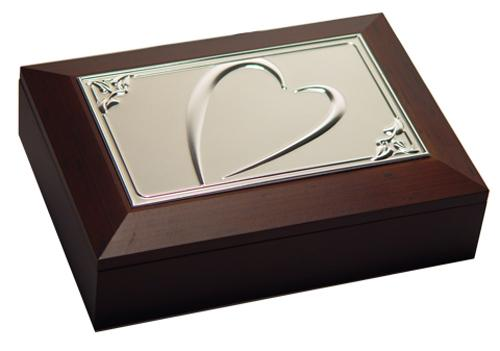 Jewellery Box - Wooden with Metal Embossed Heart Design
