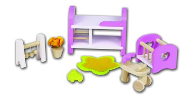 Wooden Dolls House Furniture - Pink Baby & Childs Room