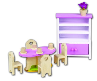 Wooden Dolls House Furniture - Dining Room Set