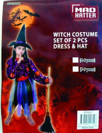 Witch Dress Up Costume with hat- Pumpkin Print