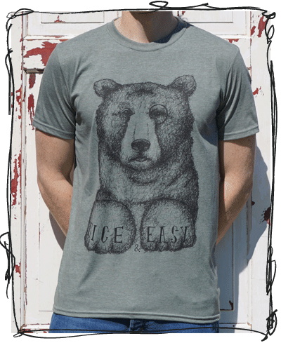 nice and easy heather green bear tee