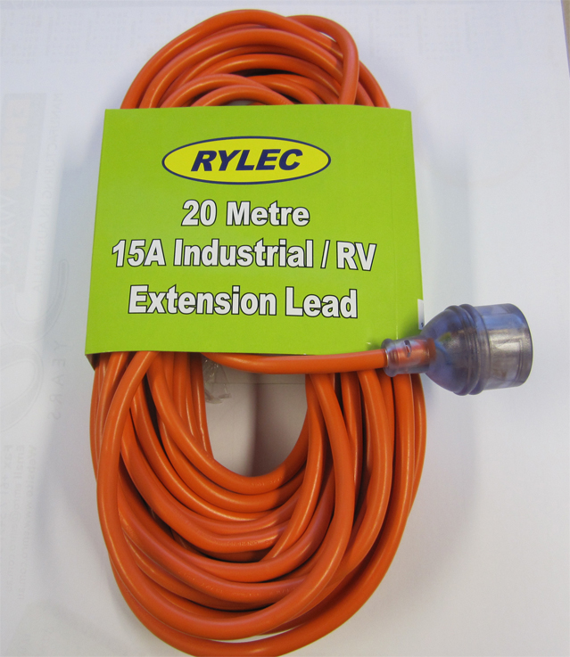 Extension Lead 20 Metre 15 Amp Heavy Duty With Neon Plug