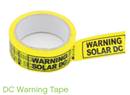 DC Warning Tape Black on Tellow 50m Roll AV/DCWT50Y