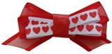 Double Bow & Heart Pet Hair Bows (4 Pack) - Red