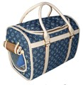 Designer LV Denim Pet Carrier Bag