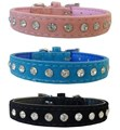 LA Suede & Crystal Dog Collar