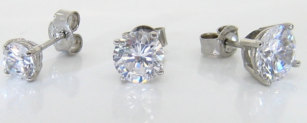 Faux fake diamond earring studs