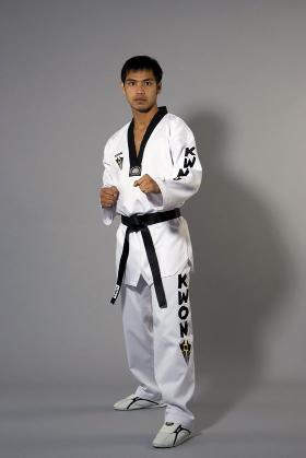 Starfighter TKD Uniform with black lapel - Woven KWON logos on chest, left arm and left leg.