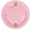 Paper Large Plate, Happy Birthday Pink
