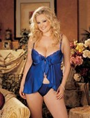 Plus Size Blue Satin Babydoll and G string (Clearance)