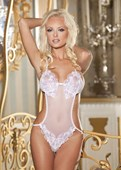 White Bridal Sequin Applique & Mesh Teddy
