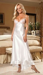 White Charmeuse & Net Long Gown