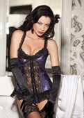 Purple & Black Satin Tapestry Flowered Jacquard Long Line Bustier