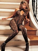 Black Stretch Lace Keyhole Bodystocking
