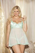Plus Size Mint Charmeuse Heart Cup Babydoll