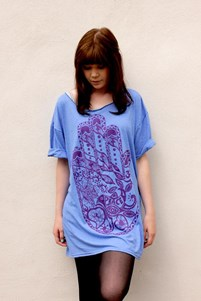 Blue Marl Oversize Hand T-Shirt