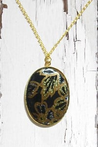Black and Gold Floral Necklace