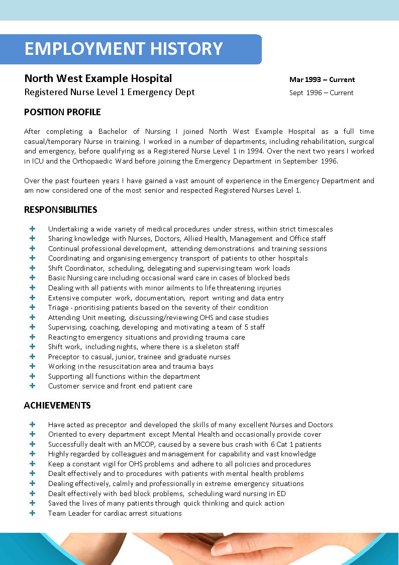 sample resume nursing position
