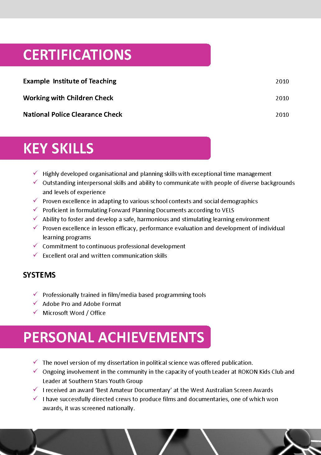 australian teacher cv template