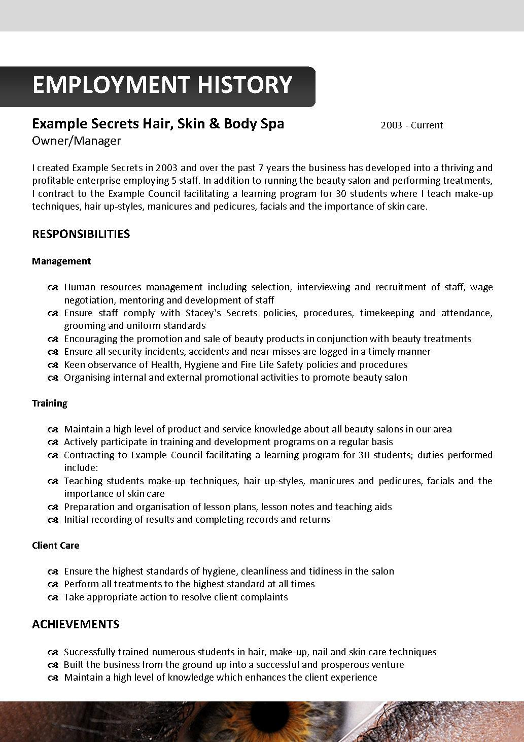 Delicieux Resume Format For Beautician Job Format