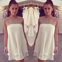 Beyaz Bej Elbise