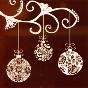 White Baubles on Red