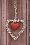 Nickel Plated Heart with Bells and red centre