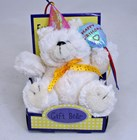 Happy Birthday teddy bear with blue balloon in display box