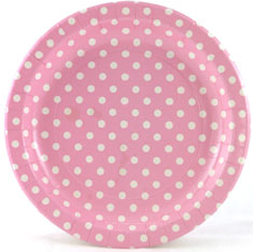 red and white polka dot paper plates Closeup yellow polka dot paper plate with plastic pink spoon & fork and napkin on pastel light blue background the concept of party.