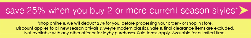save 25% when you buy 2 or more current season styles