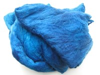 SP021 Brilliant Blues Hand Dyed Silk Fibre